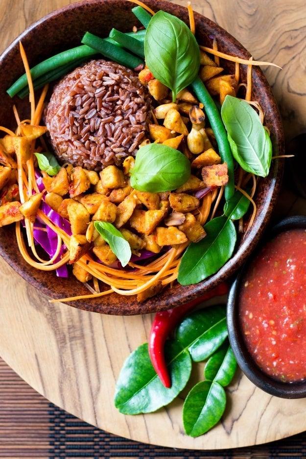Bali Bowl with Tempeh, Peanuts, and Tomato Sambal