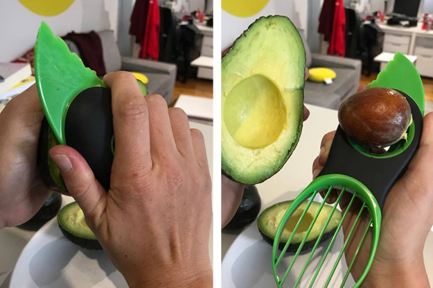 Someone trying the avocado tool, removing an avocado pit with it