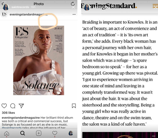 Solange responded to the cover's publication by highlighting the missing part of her braid on Instagram Stories. She posted a segment of her interview where she spoke to the magazine about the importance of braiding.