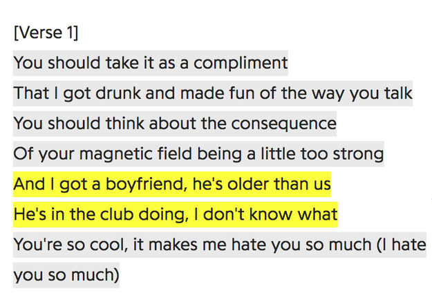 And given that there's a lyric in the song which appears to reference Calvin Harris, who she was dating at the time, perhaps this means that it was written all the way back then as well.
