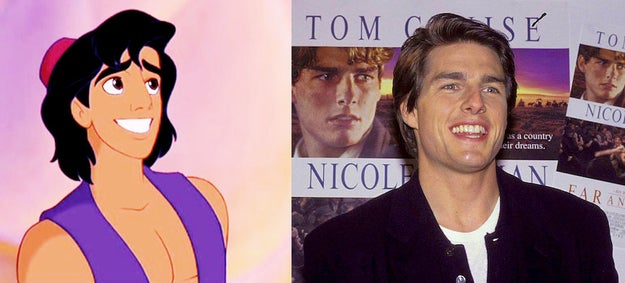 Aladdin's appearance is based on Tom Cruise.