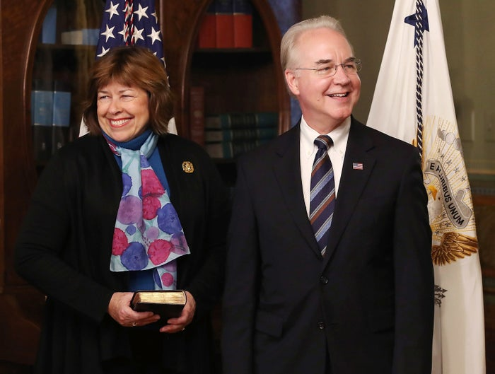 Tom and Betty Price in February as he was sworn in as secretary of Health and Human Services.