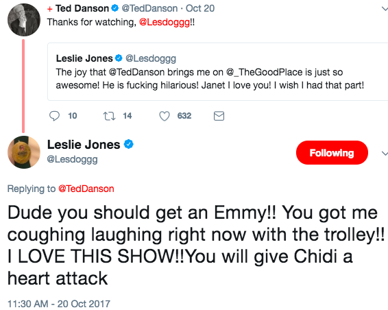 Anywaaaaay, as Leslie does when she likes a show, she's begun tweeting her praises. And the stars of the show have tweeted back!
