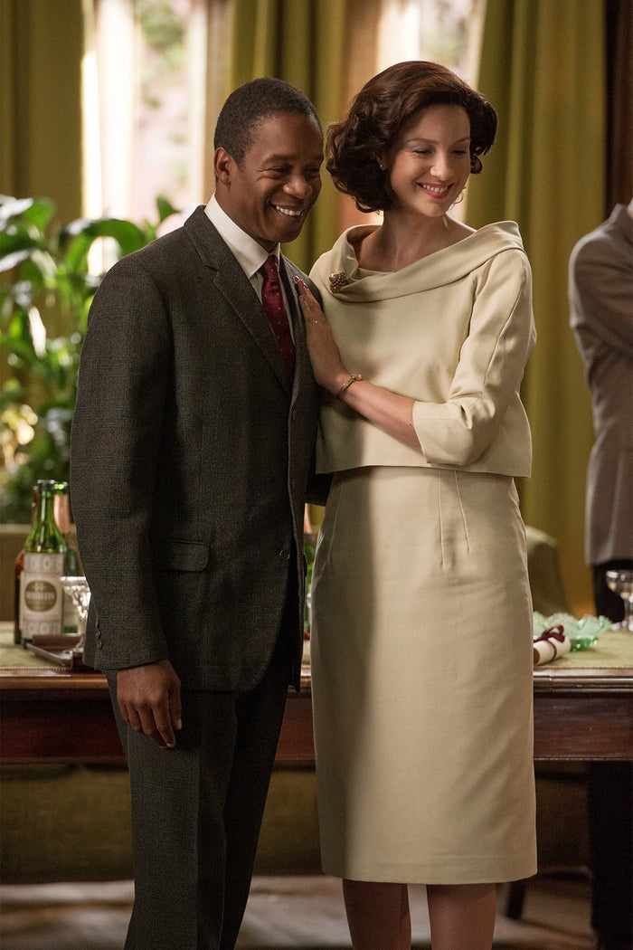 Wil Johnson as Joe Abernathy and Caitriona Balfe as Claire Fraser on Outlander.
