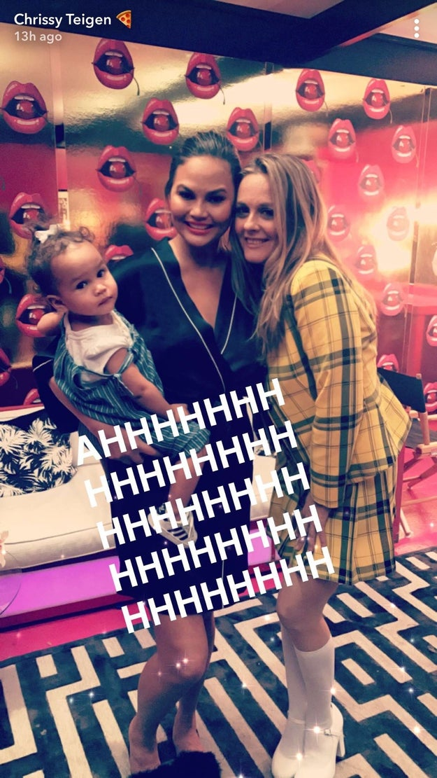 Cher — I mean Alicia — wore her iconic outfit from the movie and snapped pics with Chrissy and baby Luna. And, as you can see, Chrissy can barely contain her excitement.