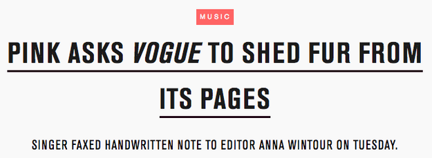 """And when she stood up to Anna Wintour, also urging her to """"shed fur from its pages."""""""
