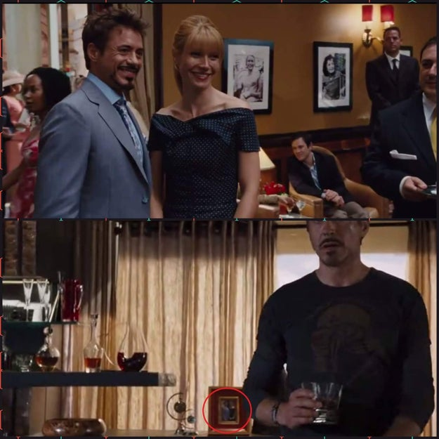 Tony and Pepper pose for a photo in Iron Man 2 that appears in a background shot in The Avengers.