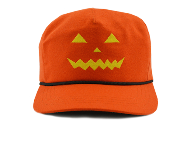 """The hat features the face of a jack-o'-lantern on the front and the president's signature """"Make America Great Again"""" slogan on the back.""""It's Trick-or-Treat time and this MAGA hat is definitely a treat!"""" the website states."""