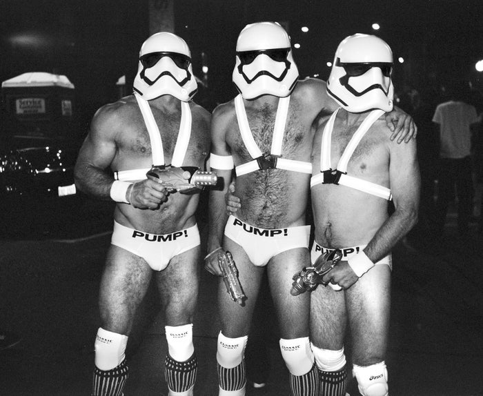 "Three men dressed as stormtroopers wear matching ""PUMP!"" briefs."