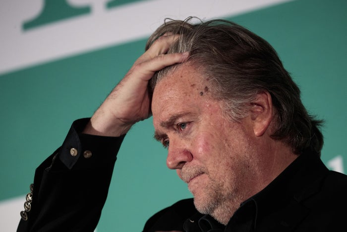 Steve Bannon, former White House chief strategist and chairman of Breitbart News, at Monday's conference on countering violent extremism in Washington.