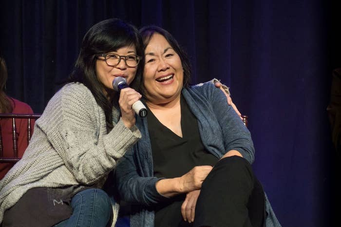 Keiko Agena and Emily Kuroda during the cast panel at Gilmore Girls Fan Fest on Oct. 21, 2017, in Kent, Connecticut.