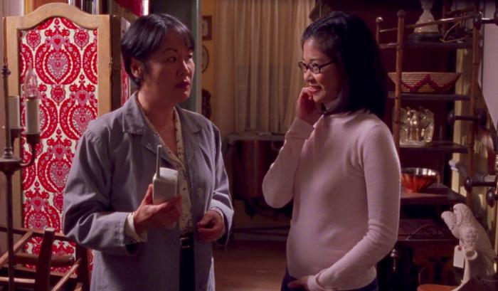 Mrs. Kim (Kuroda) and Lane (Agena) on Gilmore Girls.