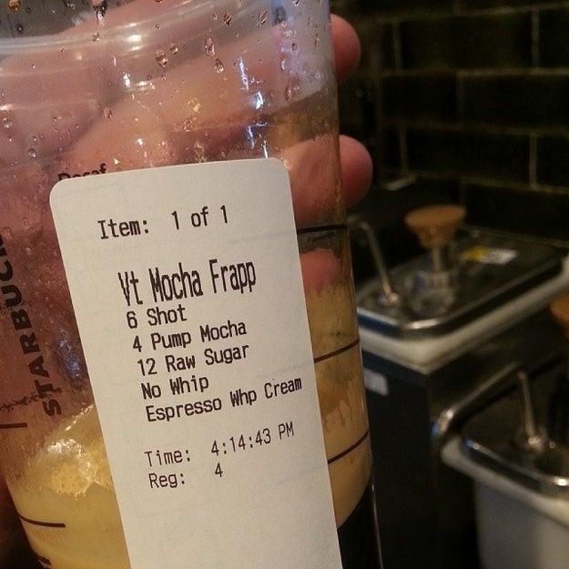 Or six extra shots of espresso in their mocha??