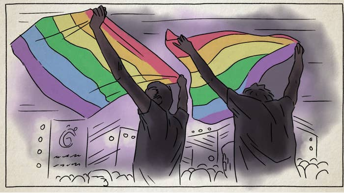 """Just a few weeks ago on September 22, 2017 a group of Egyptians raised a rainbow flag at a Mashrou' Leila concert.This led to the widest crackdown and arrests of LGBT individuals in Egypt. 59 arrests were charged on the basis of """"engaging in promoting debauchery"""" and 2 of these arrests were also charged with belonging to a """"banned group""""."""