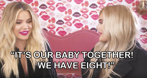 """First Khloé calls the makeup project her """"baby"""" with Kylie, then says they have eight babies together. BUT THE DEVIL IS IN THE DETAILS. It's not just the word """"baby"""" that is interesting — it's the number eight, too."""