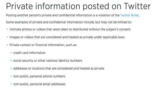 Both tweets violate Twitter's rules, which do not allow posting someone's private information including national ID numbers, addresses, and personal phone numbers.