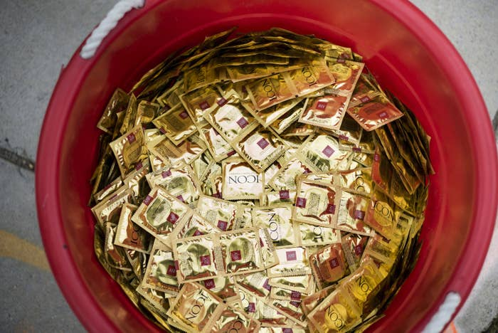 Free condoms handed out by the AIDS Healthcare Foundation staff and volunteers in Washington, DC.