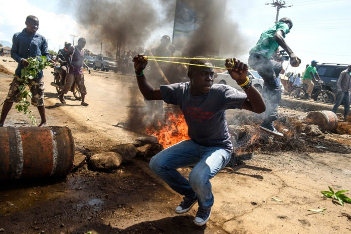 Supporters of opposition leader Raila Odinga protested on Wednesday.