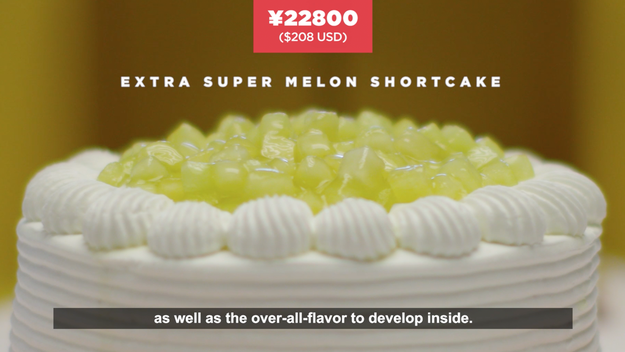 "Here we would be served the ""Extra Super Melon Short Cake"" at ¥22800 or $208 USD."