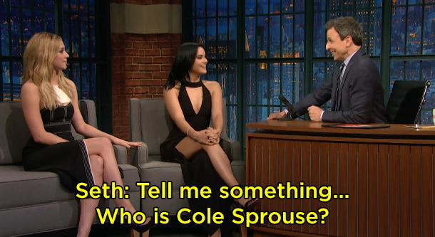 He showed a clip of them saying they were excited to work with Cole Sprouse, to which Seth said this: