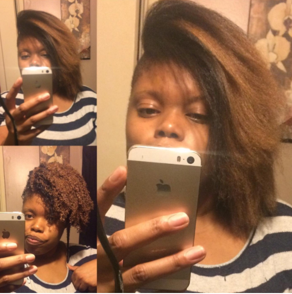 a series of images showing the progression of curly to straight hair with the hair looking soft and healthy