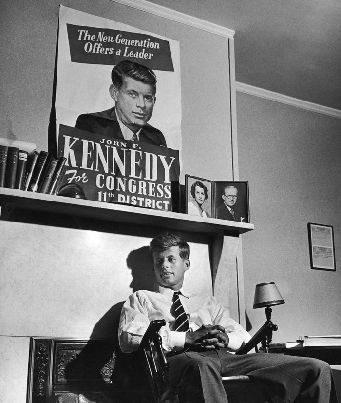 As a congressional candidate, Kennedy relaxes in room at the Bellevue Hotel in Boston in September 1946.