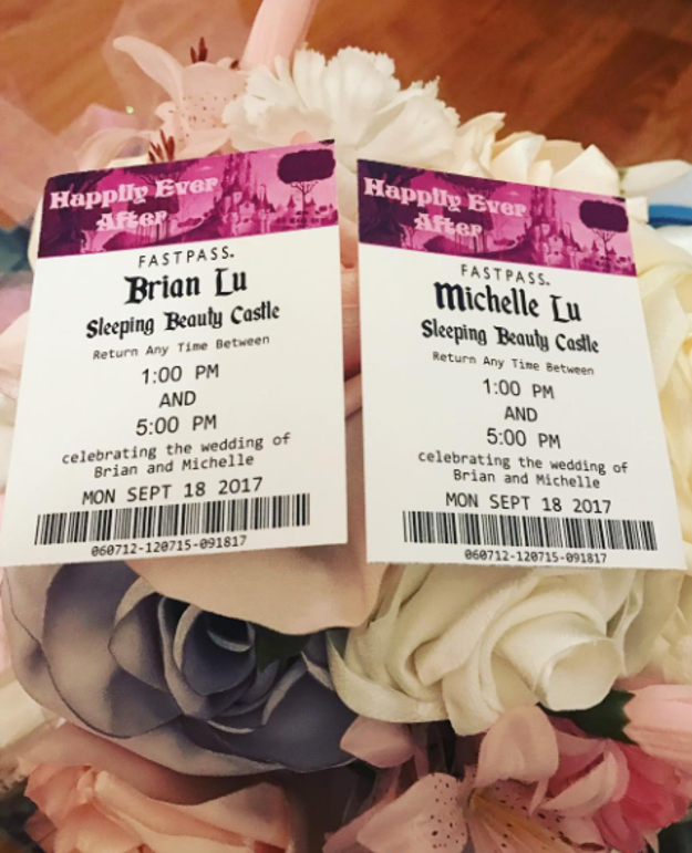 """You can order super-cute escort cards that look like """"Fastpasses."""""""
