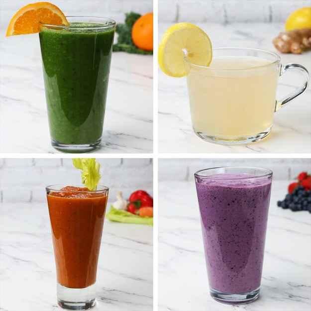 Grüner Vitaminsaft2 PortionenZUTATEN360ml Orangensaft, frisch gepresst30g frischer Spinat30g frisches Blattgrün nach Wahl, optional½ Gurke in Scheiben1 kleiner Apfel in SchnitzenZUBEREITUNG1. Orangensaft, Spinat und das andere Blattgrün in einen Mixer geben und mischen, bis eine glatte Konstistenz erreicht ist.2. Gurke und Apfel zugeben. Mixen, bis es glatt ist.3. In ein Glas gießen und sofort servieren oder auf Wunsch im Kühlschrank kühlen.4. Zum Wohl!Inspiriert von:https://www.rebootwithjoe.com/in-the-reboot-kitchen-green-citrus-juice/---Gemüse-Tomatensaft2 PortionenZUTATEN4 Tomaten, gewürfelt1 Karotte in Scheiben1 Sellieriestange in Scheiben1 rote Paprikaschote, gewürfelt Salz zum Abschmecken Pfeffer zum Abschmecken1 Esslöffel Knoblauch120 ml Wasser2 Esslöffel frische Petersilie, optionalZUBEREITUNG1. Tomaten, Karotte, Sellerie, rote Paprika, Salz, Pfeffer, Knoblauch und Wasser in einen großen Topf geben und zum Kochen bringen.2. Hitze reduzieren, abdecken und 20 Minuten köcheln lassen, bis das Gemüse zart ist.3. Von der Kochstelle nehmen und 10 Minuten abkühlen lassen.4. Die Mischung in einen Mixer geben und die Petersilie hinzufügen. Mixen, bis eine glatte Konstistenz erreicht ist.5. Gekühlt servieren.6. Zum Wohl!Inspiriert von:http://www.thekitchn.com/recipe-homemade-v8-juice-recipes-from-the-kitchn-206714---Zitronen-Ingwer-Beruhigungstee2 PortionenZUTATEN960ml Wasser1 Zitrone1 Stück Ingwer, 5-7 cm2 Teelöffel Honig oder auf Wunsch SüßstoffZUBEREITUNG1. Wasser zum Kochen bringen und von der Kochstelle nehmen.2. Zitrone und Ingwer in dünne Scheibchen schneiden. In das heiße Wasser geben.3. 5-10 Minuten ziehen lassen.4. Tee abseihen und in einen Becher gießen.5. Honig zugeben, umrühren und servieren.6. Zum Wohl!Inspiriert von:http://www.vegkitchen.com/recipes/how-to-make-fresh-ginger-lemon-tea/---Probiotischer Beerensmoothie2 PortionenZUTATEN360ml Milch240ml griechischer Joghurt330g Erdbeeren330g HeidelbeerenZUBEREITUNG1. Milch, Joghurt und gefrorenes Obst in ein