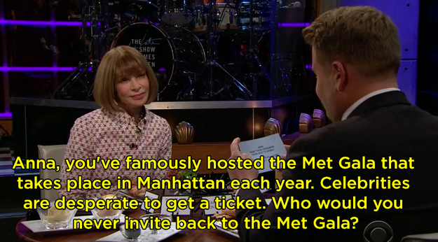 """One of the questions James asked was, """"Who would you never invite back to the Met Gala?"""""""