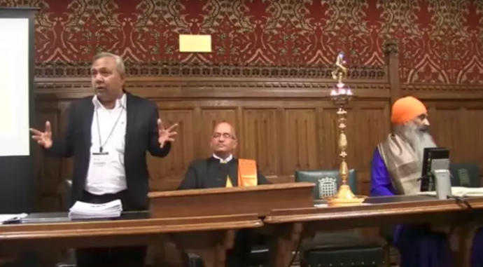 """Tapan Ghosh addresses the audience at the """"Tolerating the Intolerant"""" event in parliament last week."""