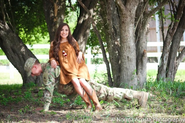 Austin's camouflage is way too effective, right? It's almost like Julissa is just sitting on a bench by herself!