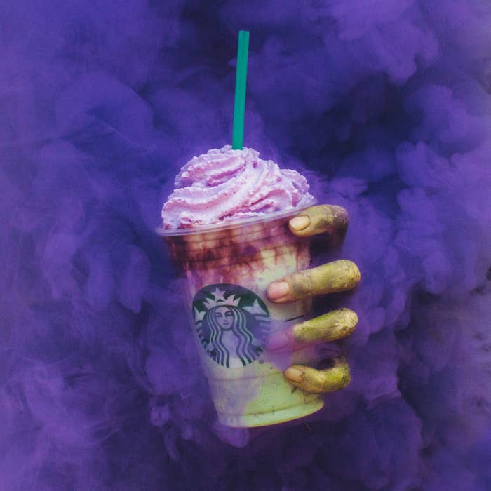 """According to Starbucks, the drink consists of a """"ghastly green body made with Frappuccino Crème infused with flavors of tart apple and caramel and topped with pink whipped cream 'brains' and red mocha drizzle."""""""