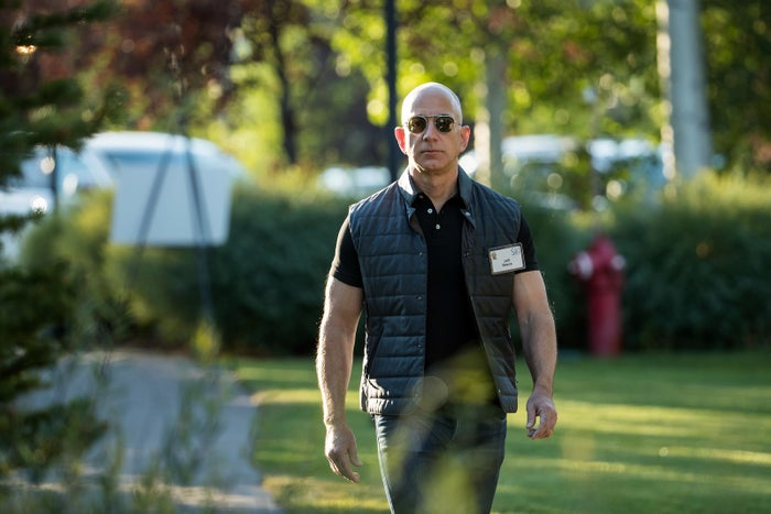 Jeff Bezos, chief executive officer of Amazon, arrives for the third day of the annual Allen & Company Sun Valley Conference in July.