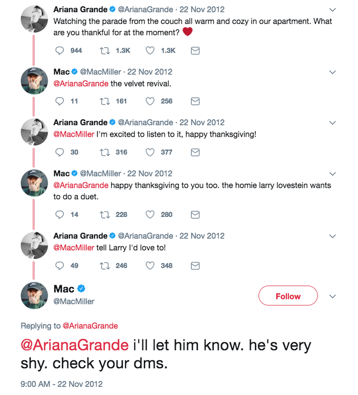 The year was 2012, when Grande sent out this fateful tweet. Which is to say, like a coupla cute teens, Grande and Miller first got together as friends thanks to a Twitter DM.