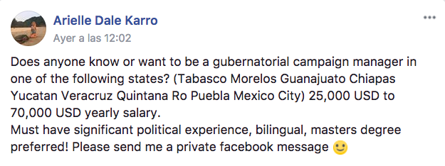 Arielle Dale Karro's message to the Facebook group Foreigners in Mexico City