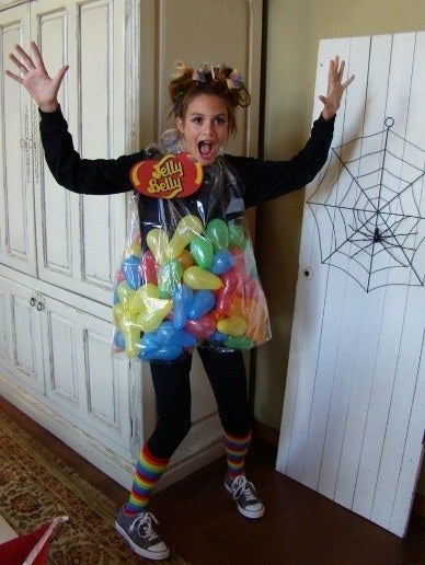 All you need for this fun, easy costume is some long balloons, a big clear bin-bag, and some colourful accessories.