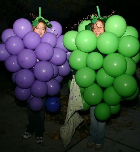 Healthy and fun – who doesn't love grapes! Simply staple a load of green or purple balloons to a t-shirt or jumper, and a green bobble hat will sort out the stalk – et voila!