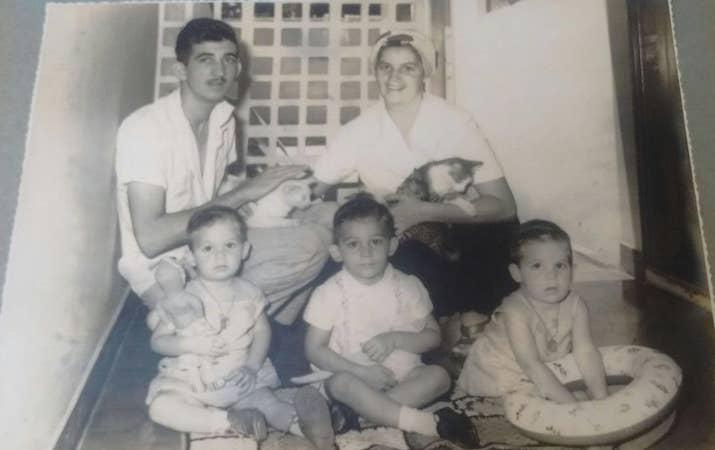 No começo da década de 1960, Franklin e Edite com Flávio (à esq.), Ricardo e Marcelo.