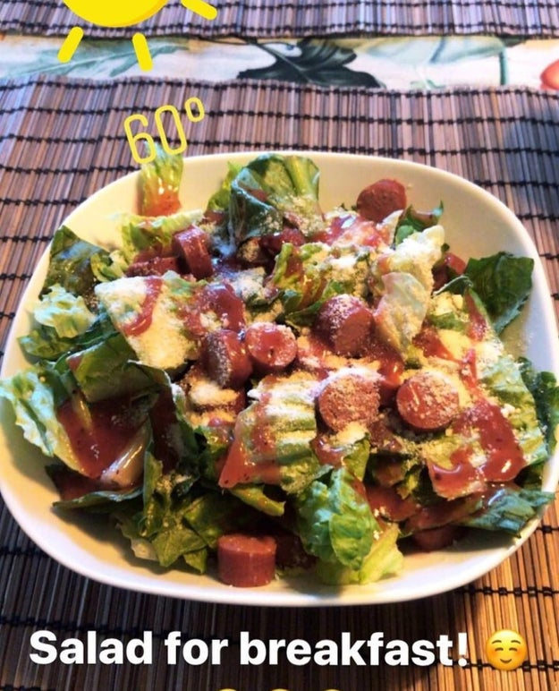 This hot dog salad with strawberry vinaigrette which sounds truly horrendous.