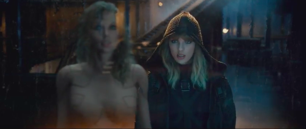And THEN she walks into what looks like an abandoned department store, where naked robot bodysuit Taylor is trapped inside a glass box.