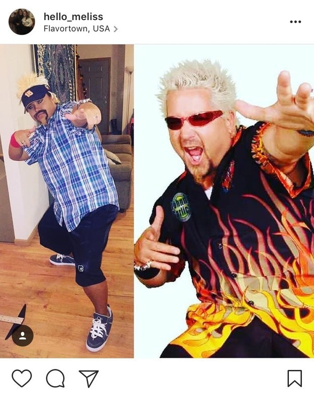 Guy Fieri. Just find a shirt, a visor and pose like this for photos.