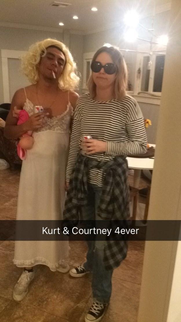 Kurt Cobain and Courtney Love.