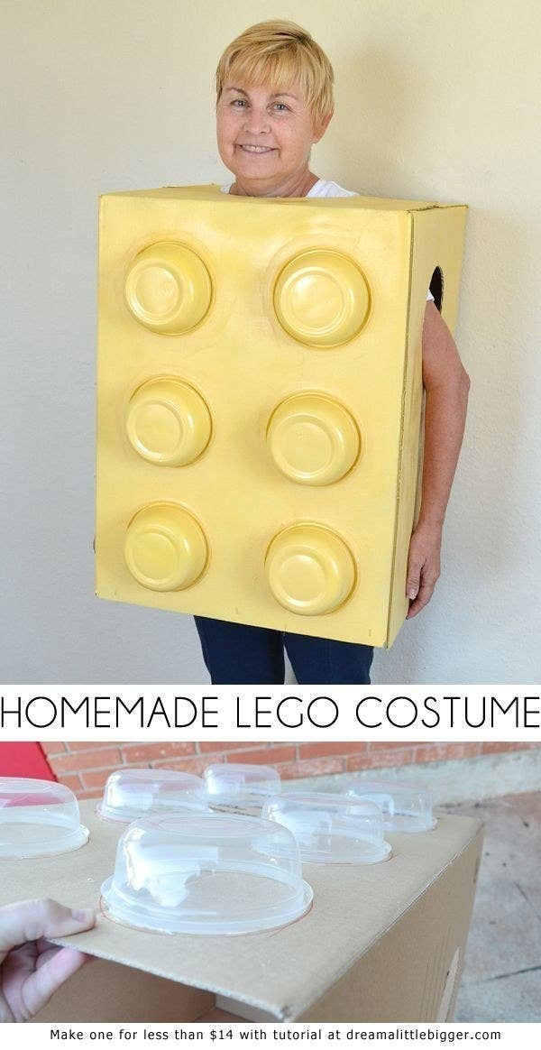 My favorite from the list: this DIY Lego costume made from a box Tupperware.