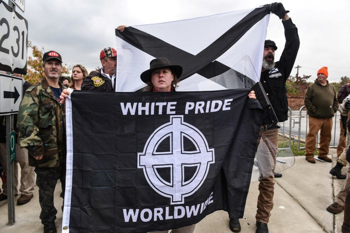 """People participate in a """"White Lives Matter"""" rally in Shelbyville, Tennessee."""