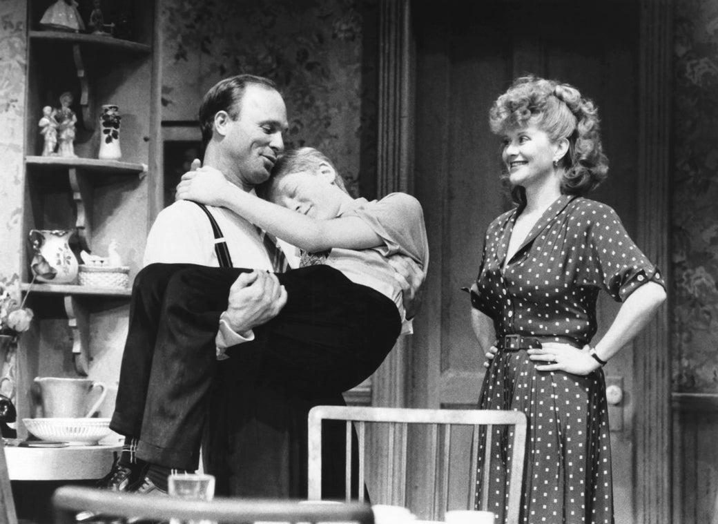 From left: Ed Harris, Anthony Rapp, and Judith Ivey, perform in Precious Sons in 1986.