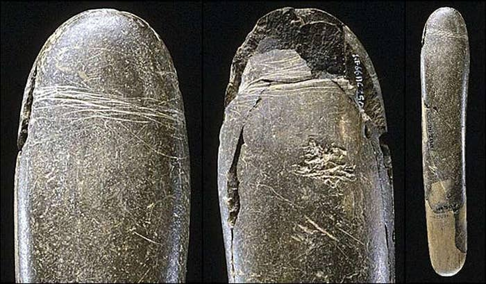 "This ancient stone penis is one of the oldest depictions of male genitalia ever to be discovered. It came from Germany's Hohle Fels cave, and it's around 28,000 years old. Later versions of dildos were covered in leather sheaths to make them softer (and warmer), although the word ""dildo"" wasn't used until the Restoration era, in a bawdy British poem about the popularity of imported Italian dildos:""You ladies all of merry EnglandWho have been to kiss the Duchess' hand,Pray, did you not lately observe in the showA noble Italian called Signor Dildo? …"""