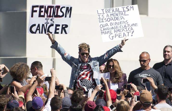 Milo Yiannopoulos at the University of California, Berkeley, on September 24.