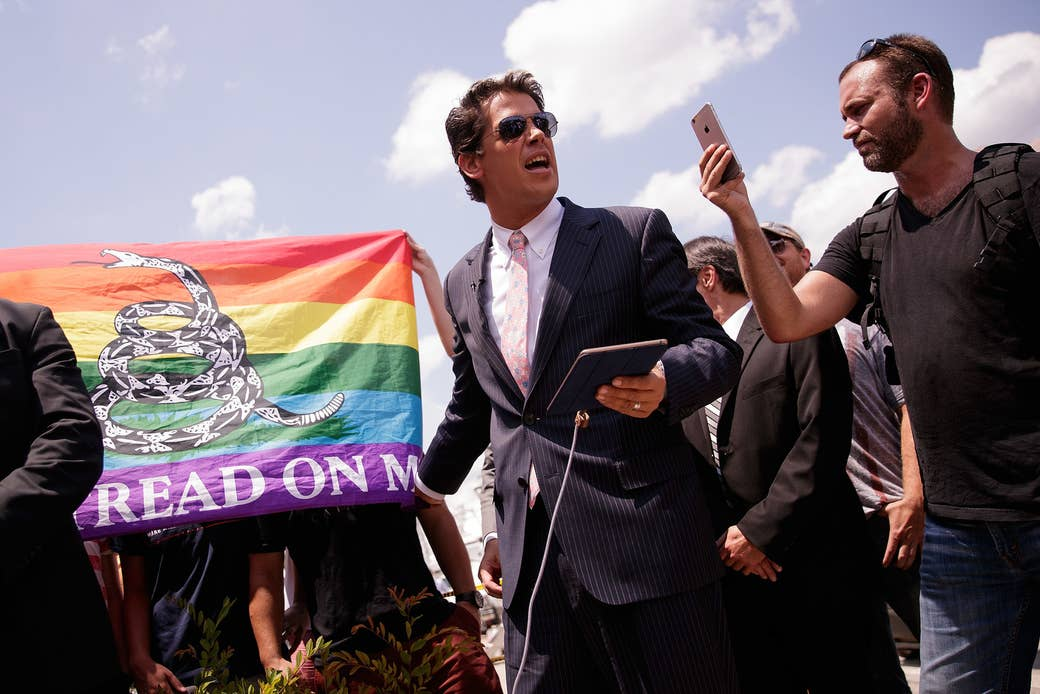 Yiannopoulos holds a press conference down the street from Orlando's Pulse Nightclub on June 15, 2016, two days after the shooting that killed 49 people and injured 53.