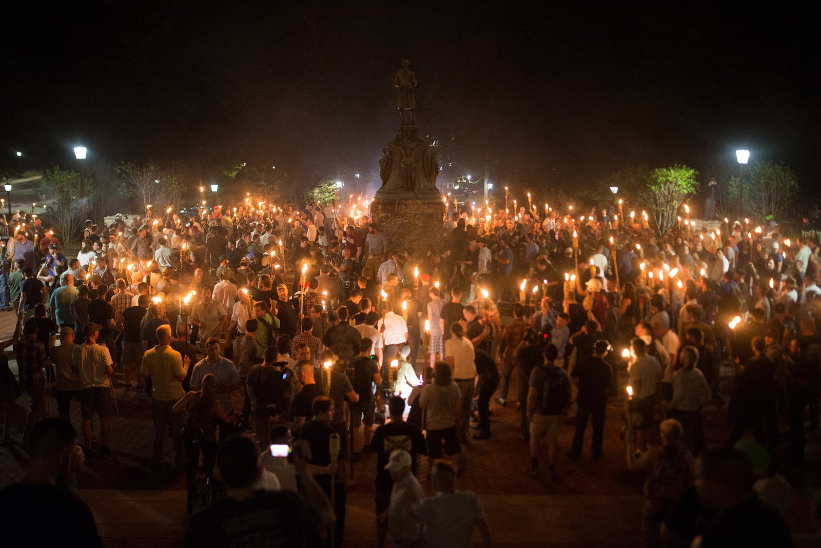 Protesters at a white supremacist rally at the University of Virginia on August 11.