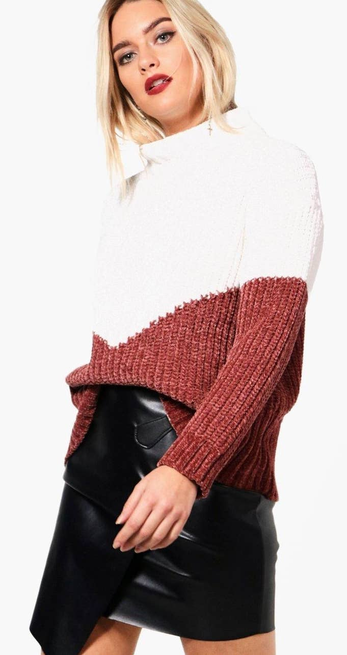 c06dee871c A chenille funnel neck sweater with a chevron pattern you ll want to funnel  straight into your shopping cart.